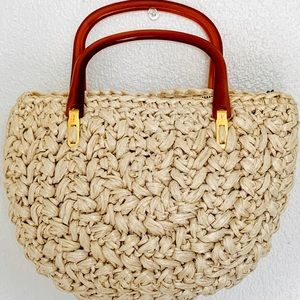 Vintage Bags - VINTAGE FORSUM RAFFIA LUCITE HANDBAG